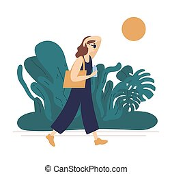 Flat vector illustration of summer hot weather isolated on ...