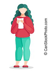 Flat vector illustration of young woman in red sweater and green pants with document in hands