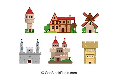 Flat Vector Illustration Set With Different Types Of Buldings