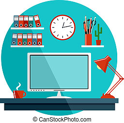 Flat vector illustration with office things, equipment.