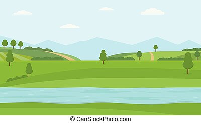 Flat vector illustration with river, green hills and mountains.
