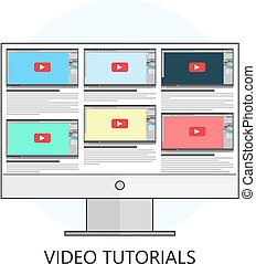 Flat vector illustration.Video tutorials. Study and learning concept background. Distance education. Internet and video services.