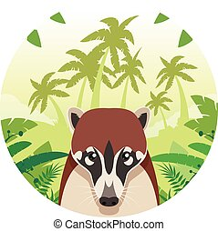 Flat Vector image of the Coati on the Jungle Background