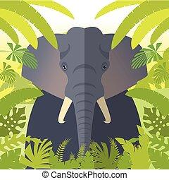 Elephant on the Jungle Background