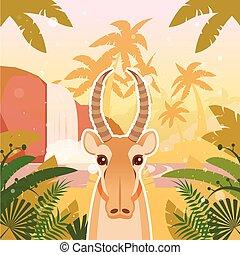 Saiga on the Jungle Background