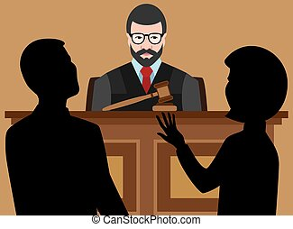 Judge is listening to cases being argued by lawyers
