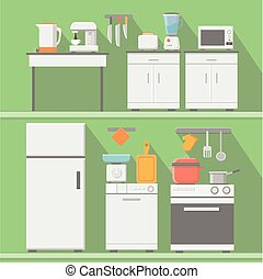 Flat vector kitchen with cooking tools, equipment. Refrigerator and microwave, toaster and cooker, blender  illustration
