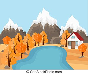 Flat Vector Landscape Illustration in Autumn. Country house near the pond and mountains with forest.