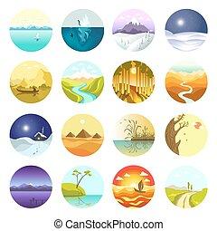 Flat vector landscapes icons set. - Vector landscapes icons ...