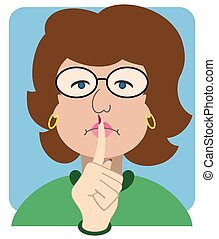 Flat Vector Librarian - Female librarian is signalling for...