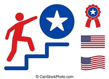 Flat Vector Man Steps to Success Icon in American Democratic Colors with Stars