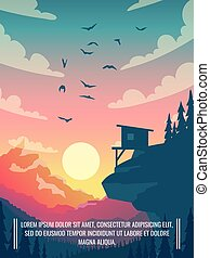 Flat vector mountain landscape with sun and clouds in sky with birds