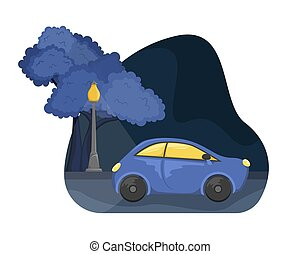 Flat vector night city landscape. The car on the road in the Park with lights.
