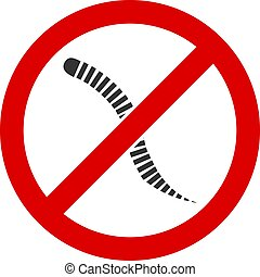No helminth worms vector icon. Flat No helminth worms symbol is isolated on a white background.