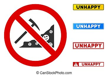 Flat Vector No Smile Mining Sign with Titles in Rectangle Frames