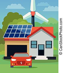 Flat vector of an electric car in front of a house with solar panels and wind turbine in the background