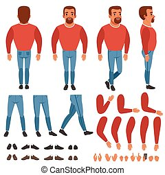 Flat vector of bearded man constructor for animation. Full length back, front and side view. Body parts arms, legs, hand gestures. Collection of shoes and sneakers