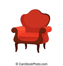 Flat vector of luxury armchair with soft red upholstery. Comfortable wooden chair. Antique furniture for lining room