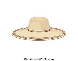 Flat vector of traditional Panama hat for men. Sombrero...