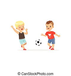 Flat vector of two little boys playing football isolated on white. Children kicking soccer ball to each other during game