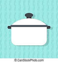 Flat vector pan, kitchenware on the wall background.