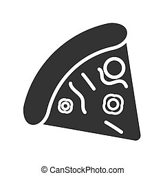 Flat vector pizza icon. The silhouette is isolated on a white background