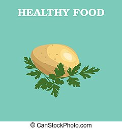 Flat Vector potato on Blue Background.