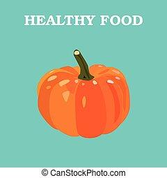 Flat Vector pumpkin on Blue Background.