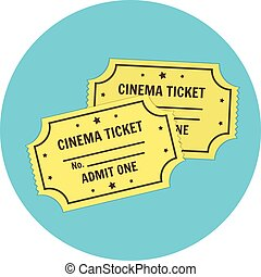Flat vector retro cinema tickets icon. Cinematography symbol