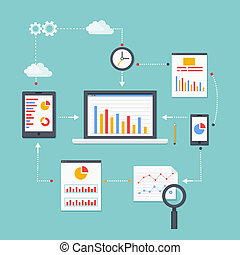 Flat vector scheme of web analytics information, development and statistic. Vector illustration