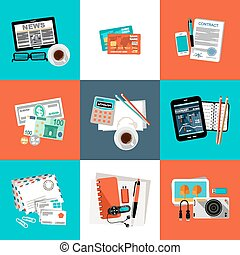 Flat vector set. - Flat vector set of office things,...