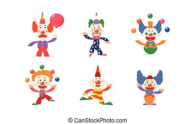 Flat vector set of 6 funny clowns in different actions. Circus artists with colorful wigs and makeup on faces
