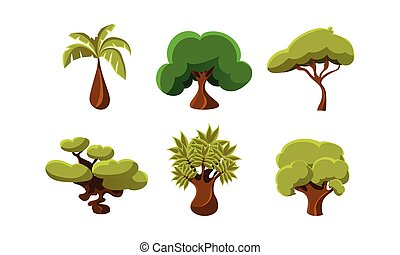 Flat vector set of 6 green trees. Objects of tropical forests. Natural landscape elements for mobile or computer game