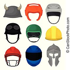 Flat vector set of 9 helmets. Protective headgear for knight, builder, motorcyclist, boxer, football and hockey players