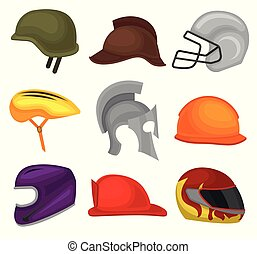 Flat vector set of 9 helmets. Protective headgear for soldier, horse rider, football player, biker, knight, builder and firefighter