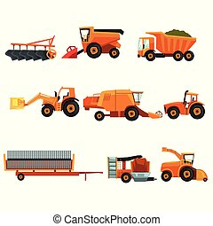 Flat vector set of agricultural transports. Rural machinery. Industrial farm vehicle. Tractor hay baler, truck, combine harvester, trailer, seeding machine, plowing equipment