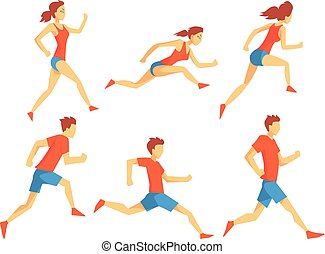 Flat vector set of athletes in running action. Man and woman in sportswear. Professional runners. Active lifestyle