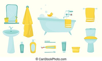 Flat vector set of bathroom items. Bath with foam and rubber duck, bathrobe and towel, cosmetics for skin care and personal hygiene