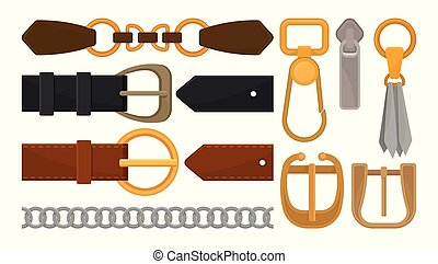 Flat vector set of belt elements. Stylish leather male and female waistbands, metal and golden accessories