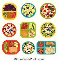 Flat vector set of bowls with fruit salads and lunch boxes with food. Healthy eating. Tasty dishes for breakfast