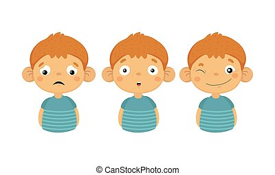 Flat vector set of boy character showing different emotions. Upset, surprised and smiling face with winking eye