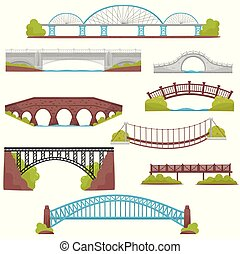 Flat vector set of brick, iron, wooden and stone bridges. Landscape elements. Architecture and city construction theme
