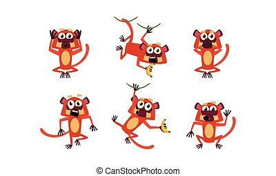 Flat vector set of brown lemur with various emotions. Monkey in different poses. Wild animal. Funny cartoon character
