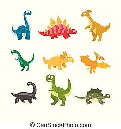 Flat vector set of cartoon dinosaurs. Funny animals of...