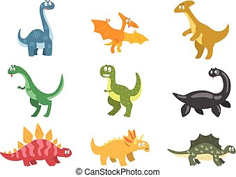 Flat vector set of cartoon dinosaurs. Funny animals of Jurassic period. Elements for postcard, children book, sticker or mobile game