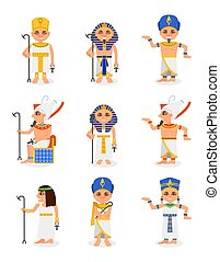 Flat vector set of cartoon Egyptian pharaohs and queens. Rulers of ancient Egypt. Men and women characters traditional clothes and headdresses