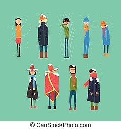 Flat vector set of cartoon freezing men and women. Cold,...
