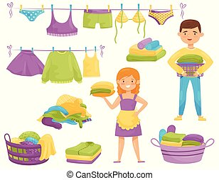 Flat vector set of cartoon laundry icons. Clean clothes on ropes, baskets with dirty garment, smiling housewife and boy