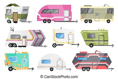 Flat vector set of classic camper vans and trailers. Recreational vehicles. Home on wheels. Comfort cars, Caravan van for RV Family trip to nature. Vector illustration for web design or print