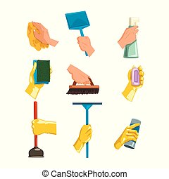 Flat vector set of cleaning supplies. Human hands holding rag, plastic scoop, bottles with liquid and powder, brush, soap, sponge for dishwashing, plunger, mop